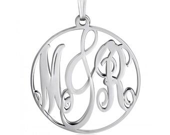 Circle Monogram Neckalce Framed White Gold Monogram Pendant Personalized Monogram Necklace Name White Gold Monnogrammed Gift Monogrammed