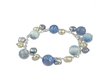 Blue Agate and Pearl Bracelet