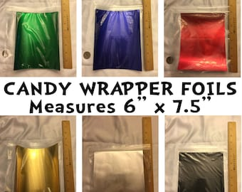 Candy Wrapper Foils, 6 inch by 7.5 inch, 10 sheets, white backing, wraps over 1.55 oz chocolate bar personalized candy wrapper, choose color