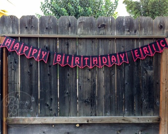 Happy Birthday Personalized Banner, Happy Birthday with Name, Red on Black on Red, Custom Handmade Birthday Banner