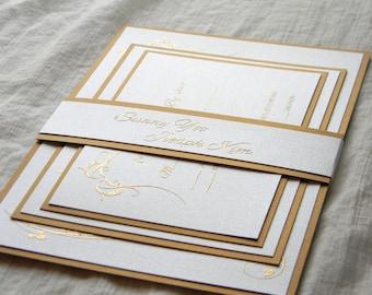 Pearl White and Gold Fancy Elegant Wedding Invitation