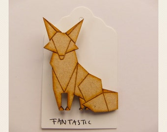 Origami Handsome Fox Brooch
