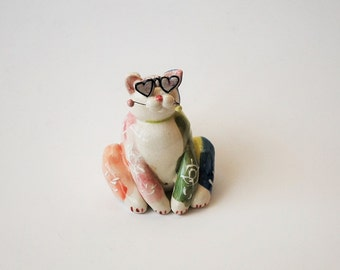 Glass Pottery - Whimsy Clay Cat