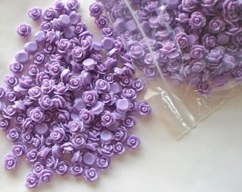 20 x  Purple Flat Back Rose Flower 10mm Resin / Acrylic Cabochons