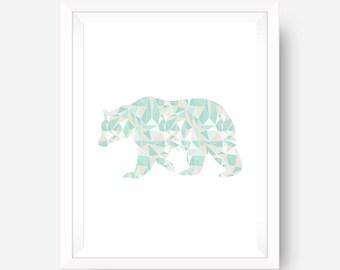 Minimalist Wall Art, Geometric Art, Bear Wall Art,  Coral & Mint, Digital Download, Bear Print, Mint Bear, Mint Wall Art, Coral Wall Art
