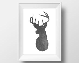 Black Watercolor Deer Print, Deer Print, Deer Wall Art, Watercolor Deer, Printable Deer Art, Deer Decor, Animal Nursery Decor