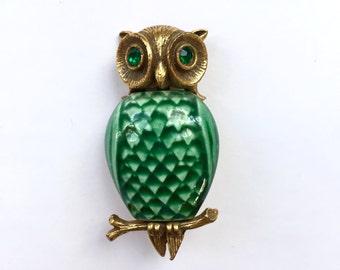 Vintage Handpainted Green Owl Brooch
