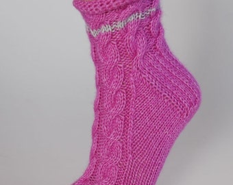Ladies luxury pure cashmere handmade bed socks by Willow Luxury - (to fit ladies shoe sizes UK 7-8, US 9-10, European 40-41)