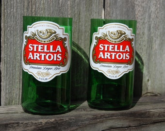 Set of 2 upcycled Stella Artois glasses