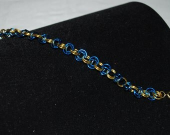 Split Chain Maille Bracelet - Blue and Gold