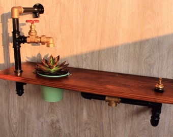 "The ""Ambient"", Industrial Pipe Shelving, Wood Shelf, Pipe Shelf"