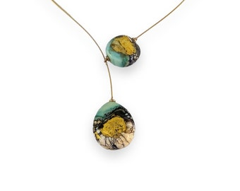 Delicate Asymmetric Matte Glass and Gold Necklace (168-T)
