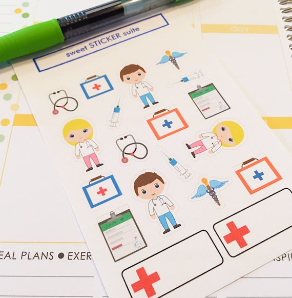 Calendar Planner Reminder Stickers : Doctor planner stickers cute appointment