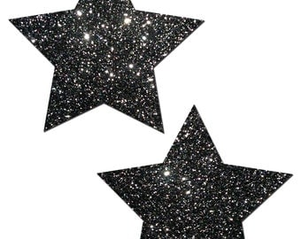 Pasties - Rockstar: Black Glitter Star Nipple Pasties by Pastease® o/s