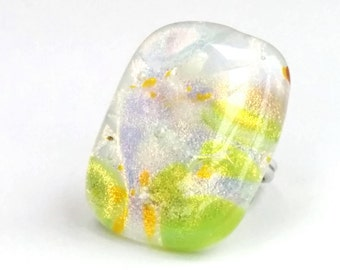 Dichroic Fused Glass Adjustable Ring  - Tectonik Collection - White, green, yellow (R80)