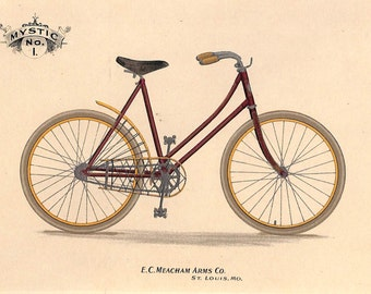 Bicycle Print, Antique Matted Chromolithograph, 1896