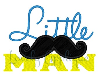 Little Man Mustache Appliqué Design - Instant Download