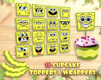 SpongeBob Cupcake Topper Wrappers Happy Birthday Party Printable, Toppers SquarePants Food Tent Wrap Labels Buffet Favors Instant Download