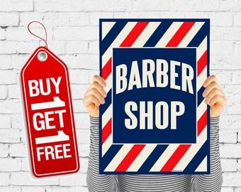 Barber Shop poster vintage print retro Hairdressing poster, Barbershop poster Hairdresser vintage advertising - Barber Shop Stripes (1209)