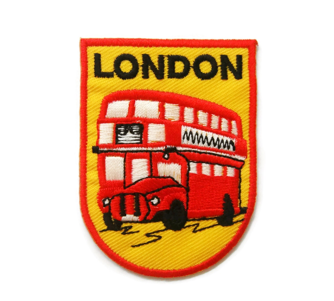 London double decker bus embroidered applique iron on patch