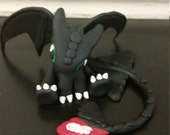 Night fury polymer clay dragon