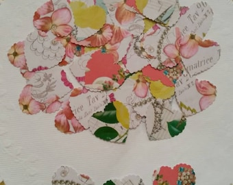 50 Vintage Rustic Flowers Scalloped heart punches ! Scrapbooking , cardmaking. Table confetti