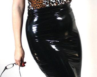 Pencil Skirt in Gloss Stretch PVC Vinyl, by Suzi Fox