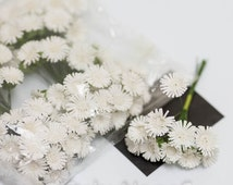 Mini daisy bulk 100pc craft flowers for scrapbooking crafting favor decoration, wedding, birthday, spring gifts wreaths millinery daisies
