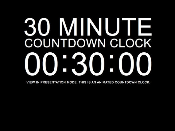 30 minute black countdown clock presentation powerpoint slide, Modern powerpoint