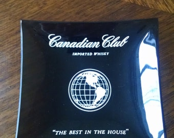 Vintage Set of 4 Smoked Glass CANADIAN CLUB Ashtrays
