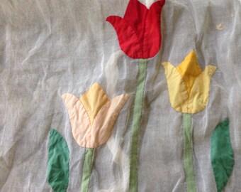 White tulip vintage apron