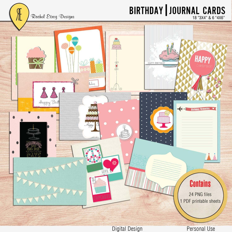 Happy Birthday Pocket Cards Project Life Printable Digital