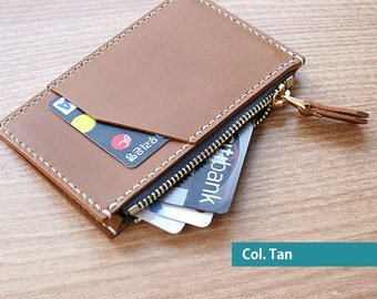 Zip Credit Card Leather Wallet  - 100%Handmade