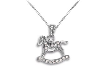Sterling Silver Rocking Horse Necklace Pendant Brass Charm