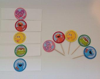 Sesame Street party supplies, napkin wraps, cupcake picks, cupcake toppers