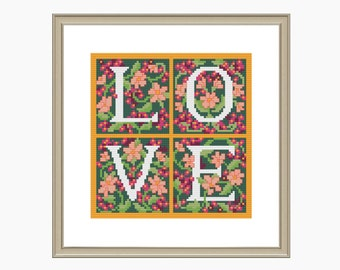 Cross Stitch Pattern,modern cross stitch, LOVE cross stitch pattern - Instant Download PDF