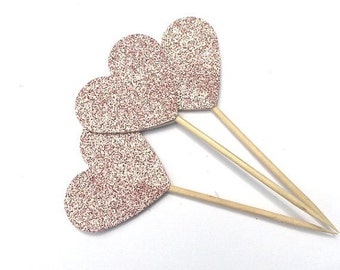 12 Blush Pink Glitter Heart Toothpick Toppers