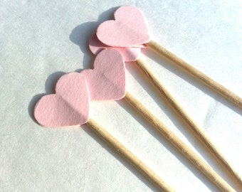 24 Mini Powder Pink Heart Toothpicks