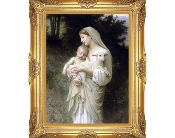Canvas Painting Reproduction Innocence William Bouguereau Framed Giclee Wall Art Print - Realism - Sizes Small to Large - M00734
