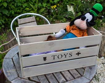 Toy Box, Toy box apple crate, personalised toy box, wooden crate, wooden toy box, crate