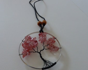 Tree of Life Rearview Pendant - Pink_1