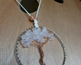 Tree of Life Rearview Pendant - Frosted Pink_1