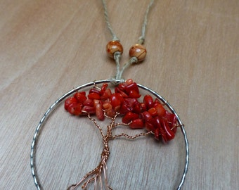 Tree of Life Rearview Pendant - Red Coral_1
