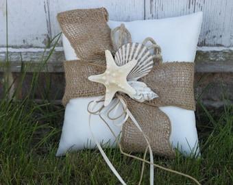 Rustic Seashell Ring Bearer Pillow/ Beach Themed/ Destination Wedding
