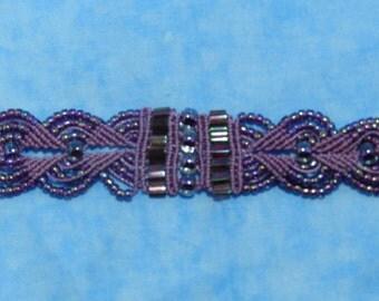 "Lavendar Macrame Bracelet - Available in sizes 6"" - 9 1/2"""