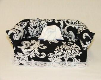 Black & White Designer fabric tissue box cover.