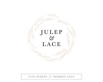"""Premade Logo Design - Watercolor Wreath Logo - Photography Logo - Boutique Logo - Small Business Logo - """"Julep"""" Deluxe"""