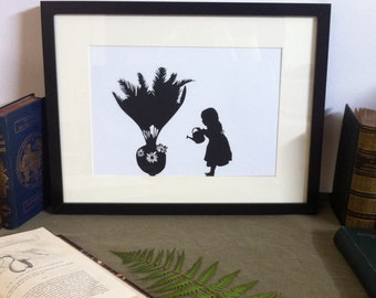 Art - Anachronism the girl with the Bennettitales - Silhouette carved in 150 g/m2 - Papercut Bennettitalean girl black canson paper