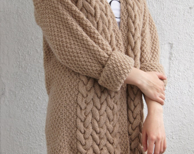 Beige Handmade Knit Oversize Free Size Cardigan Sweater, Choose your own color, Customer color