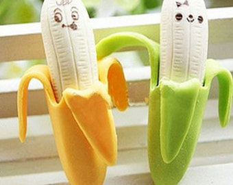 Set of 2-rubber Eraser bananas